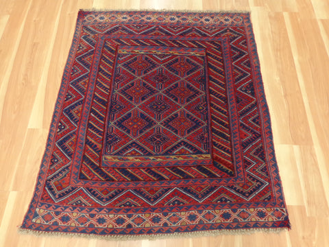Tribal Oriental Rug, 3' 8 x 4' 4 Red Baluch