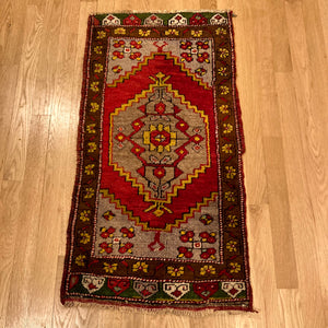 Turkish Rug, 1' 7 x 3' 1 Red Yastik