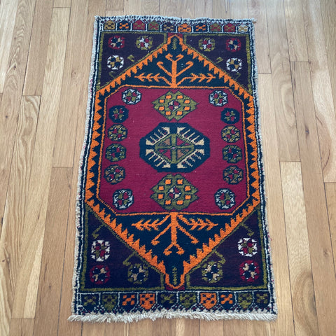 Turkish Rug, 1' 9 x 3' Red Yastik