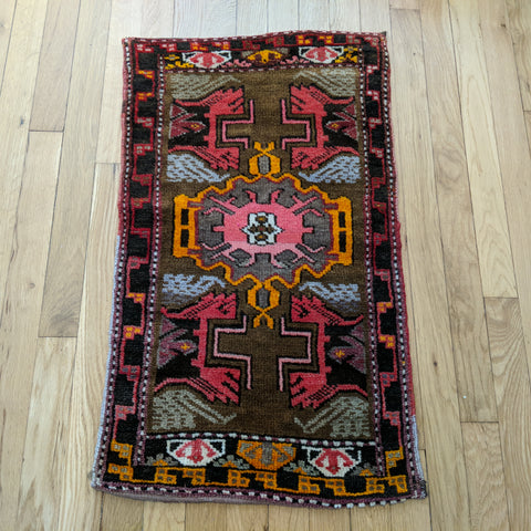 Turkish Rug, 1' 7 x 2' 8 Olive Yastik