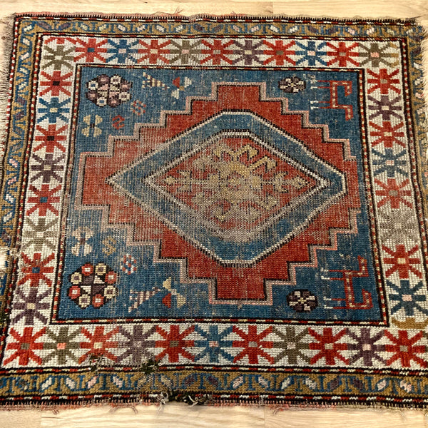 Antique Rug, 2' 11 x 3' 3 Blue Turkish