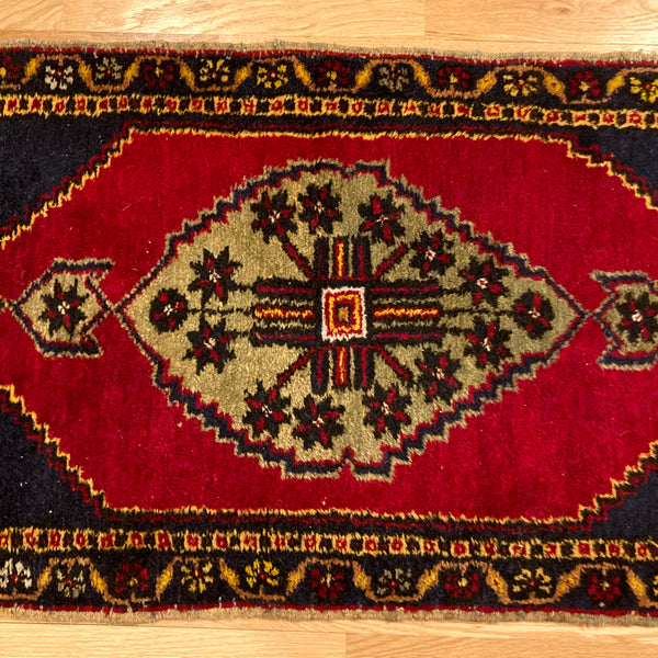 Turkish Rug, 1' 8 x 3' 5 Blue Yastik