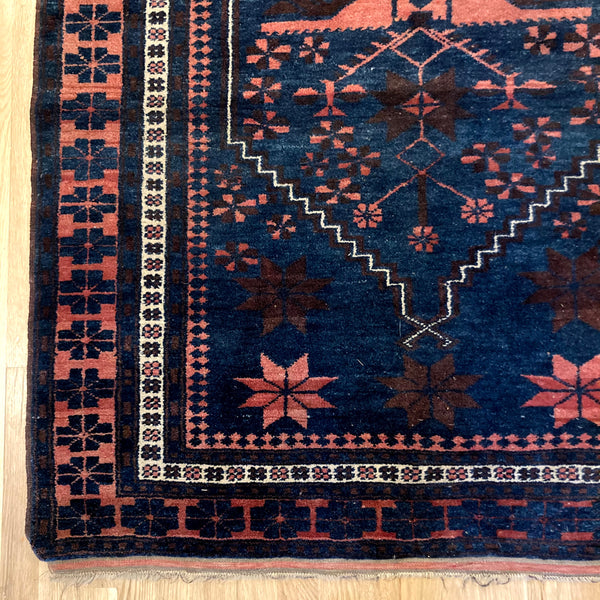 Turkish Rug, 3' 10 x 6' 7 Vintage Blue