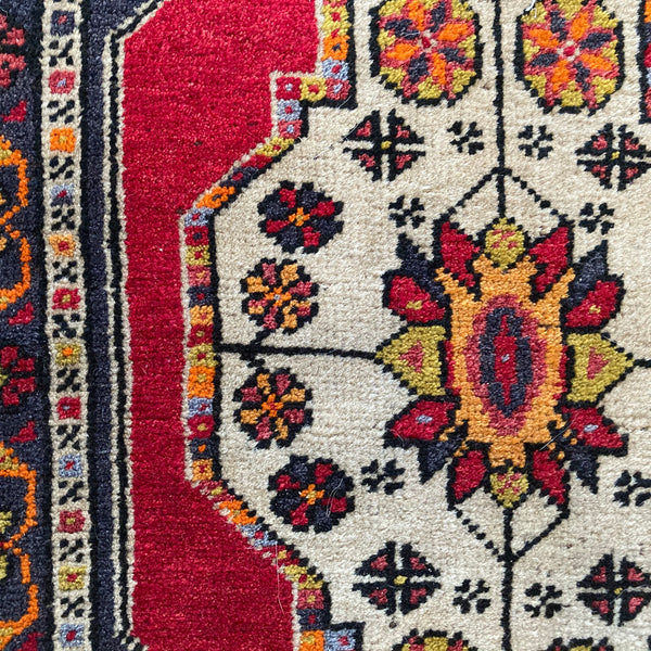 Turkish Rug, 1' 8 x 4' 3 Red Yastik