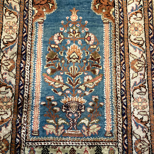 Turkish Rug, 2' x 3' 6 Vintage Blue