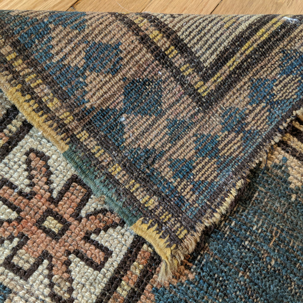 Antique Rug, 3' 1 x 3' 11 Blue Turkish - Jessie's Oriental Rugs