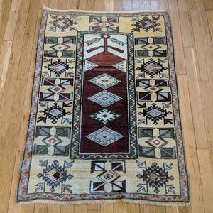 Turkish Rug, 2' 7 x 3' 11 Red Prayer - Jessie's Oriental Rugs