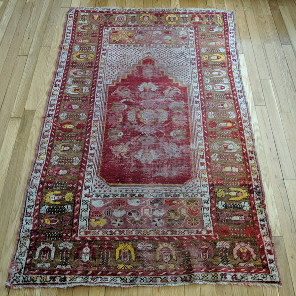 Turkish Rug, 3' 5 x 5' 5 Red Prayer