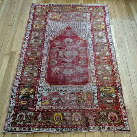 Turkish Rug, 3' 5 x 5' 5 Red Prayer - Jessie's Oriental Rugs