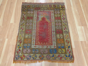 Antique Turkish Rug, 3' 1 x 4' Red Prayer