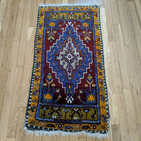 Turkish Rug, 1' 11 x 3' 10 Red Tribal