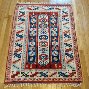 Turkish Rug, 3' 4 x 4' 7 Red Bergama - Jessie's Oriental Rugs