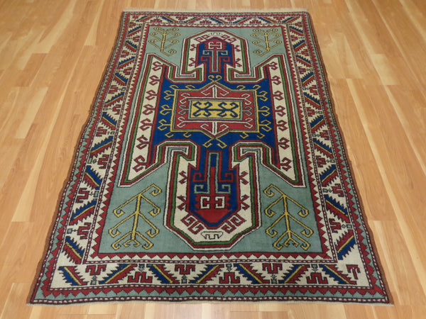 Turkish Rug, 4' 6 x 6' 6 Blue Green Kars - Jessie's Oriental Rugs