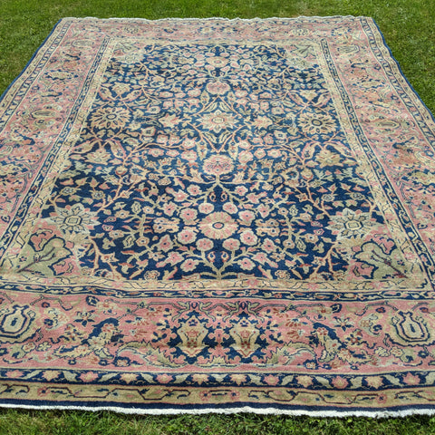 Turkish Rug, 9' x 11' 10 Blue Sparta