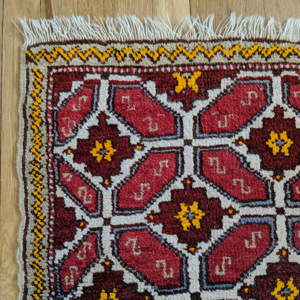 Turkish Rug, 1' 9 x 3' 9 Ivory Tribal - Jessie's Oriental Rugs