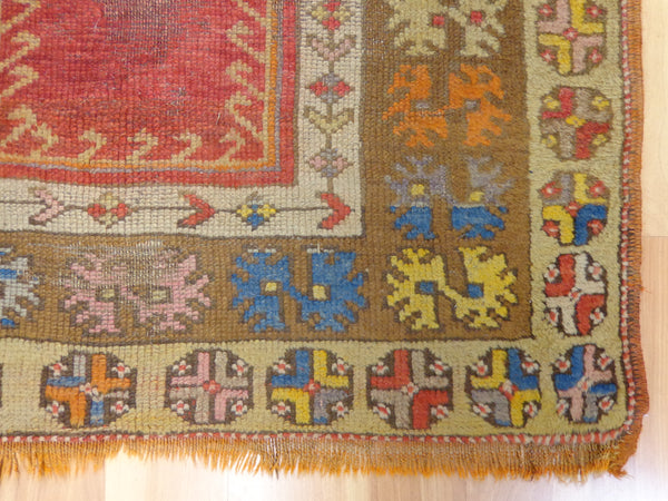 Antique Turkish Rug, 3' 1 x 4' Red Prayer - Jessie's Oriental Rugs