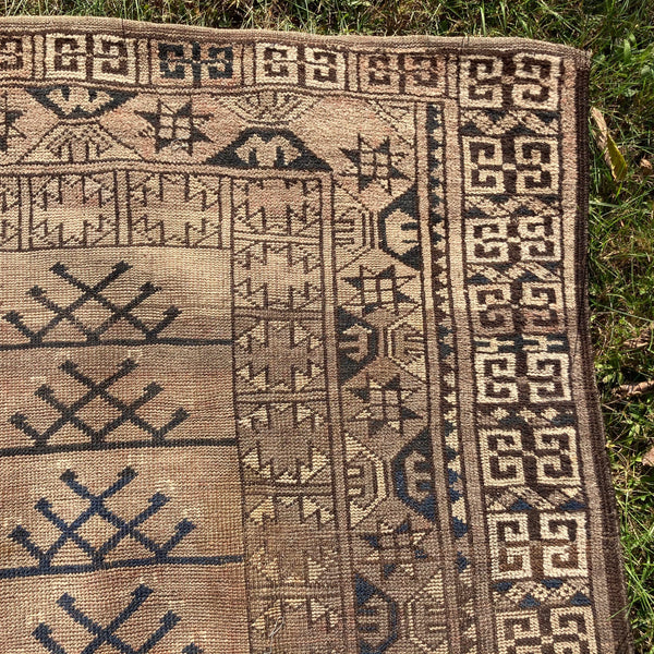 Afghan Rug, 4' 7 x 7' 4 Brown