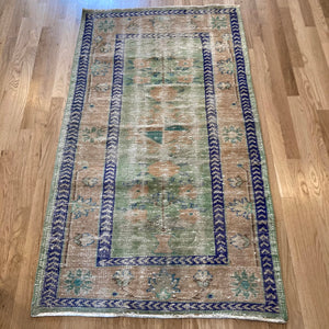 Turkish Rug, 2' 11 x 5' 2 Soft Green