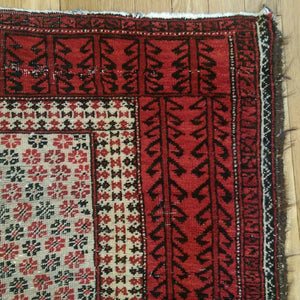 Afghan Rug, 3' 1 x 6' 1 Tribal Red Baluch