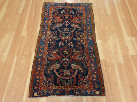 Persian Rug, 2' 9 x 4' 11 Dark Blue Hamedan