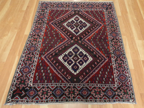 Persian Rug, 4' x 4' 11 Red Afshar