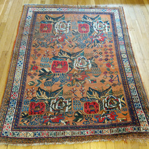 Antique Rug, 4' 1 x 5' 5 Orange - Jessie's Oriental Rugs