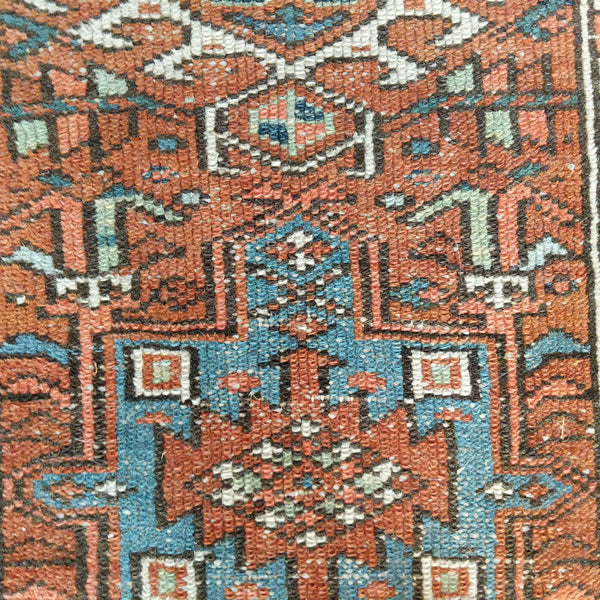 Persian Rug, 2' 4 x 4' 3 Orange Karaja - Jessie's Oriental Rugs