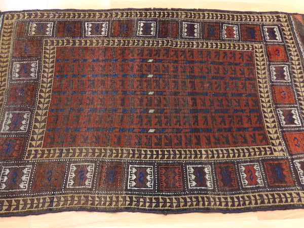 Antique Rug, 2' 11 x 5' 4 Brown Baluch