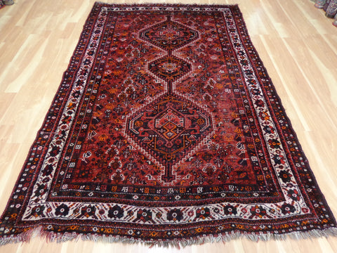 Persian Rug, 5' 6 x 8' 5 Red Shiraz - Jessie's Oriental Rugs