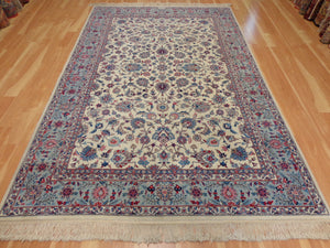 Persian Rug, 5' 10 x 9' 5 Ivory White Isfahan