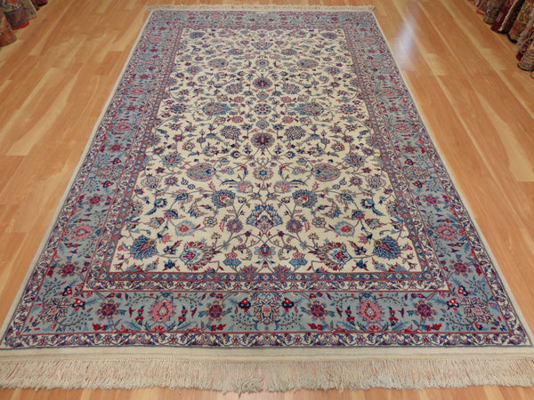 Persian Rug, 5' 10 x 9' 5 Ivory White Isfahan - Jessie's Oriental Rugs