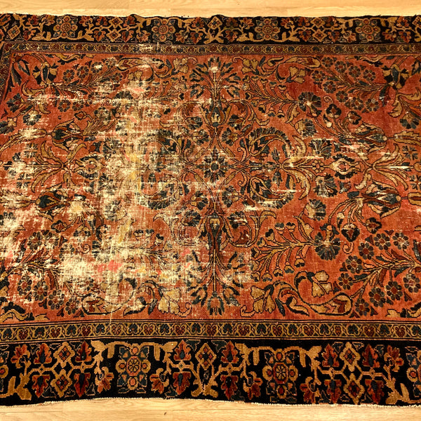 Antique Rug, 5' x 6' 7 Pink