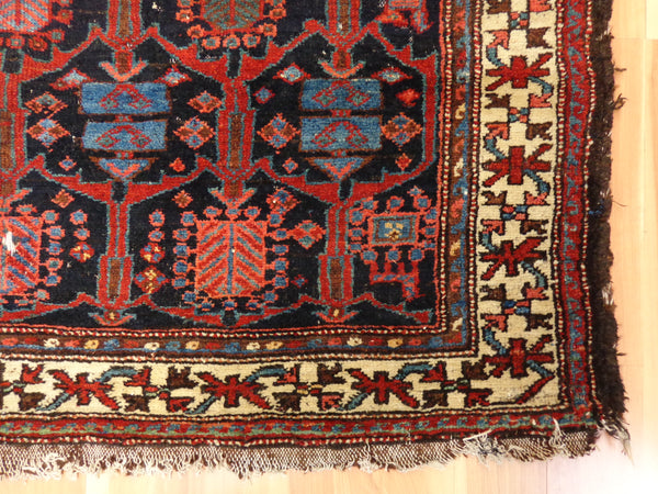 Persian Rug, 4' 8 x 7' 3 Antique Blue Kurdistan - Jessie's Oriental Rugs