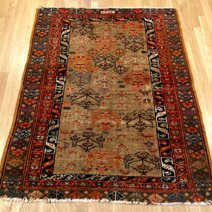 Antique Rug, 3' 7 x 4' 7 Tan