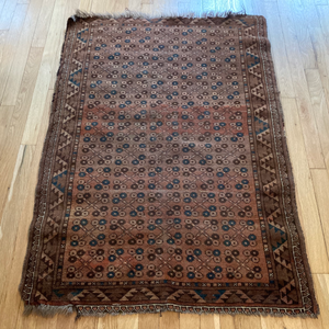 Antique Rug, 2' 11 x 4' 3 Brown Baluch