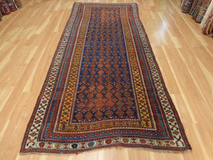 Antique Rug Runner, 4' 5 x 10' 2 Blue Persian Kurdistan - Jessie's Oriental Rugs