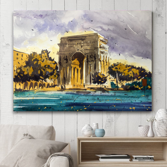 Rectangle Architect Series Painting on Canvas - Arc de Triomphe
