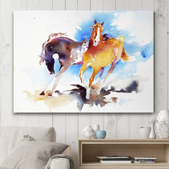 Rectangle Animal Series Painting on Canvas - Dancing Horses