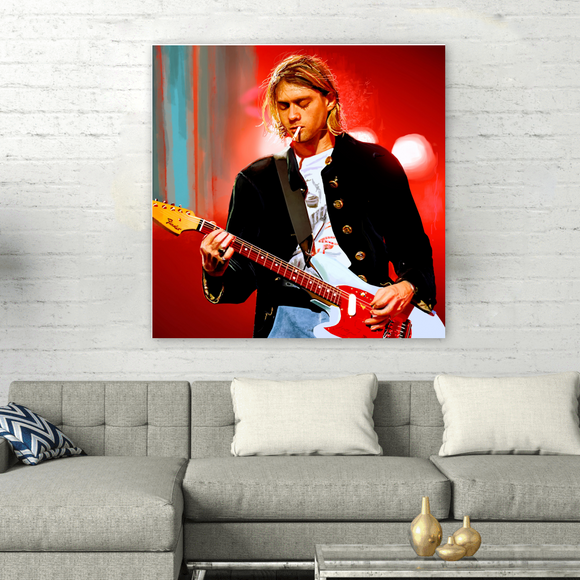 Square Kurt Cobain Series Painting on Canvas