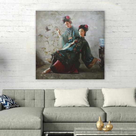 Square Chinese Series Painting on Canvas - Sisters