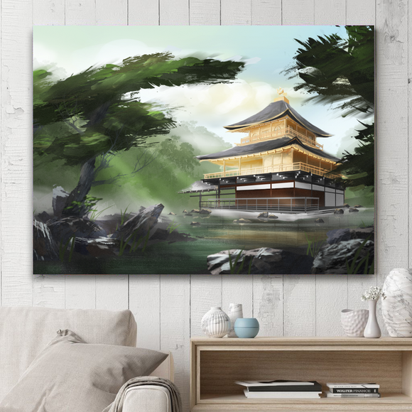 Rectangle Japanese Series Painting on Canvas - Golden Pavilion