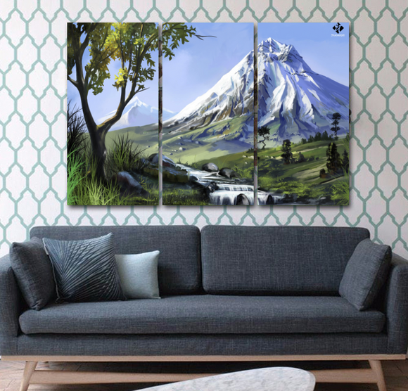 3 Pcs Vertical Painting on Canvas - Mt. Fuji