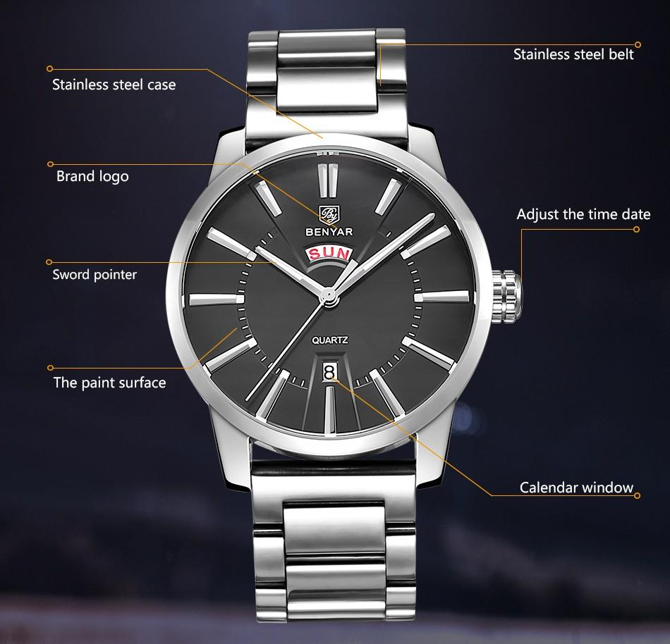 products new casual top double s male benyar calendar watches brand fashion clock bbac quartz watch luxury business men