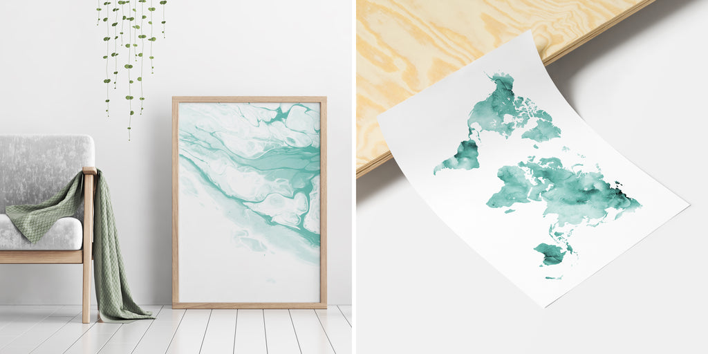 Minimalistic Teal Paintings and Watercolour Prints in Modern Interior Decor - Timiko Studio