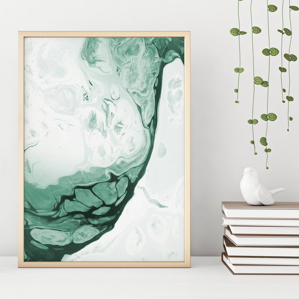 Abstract Forest Green Fluid Painting Poster 1 Paintings - Timiko Studio
