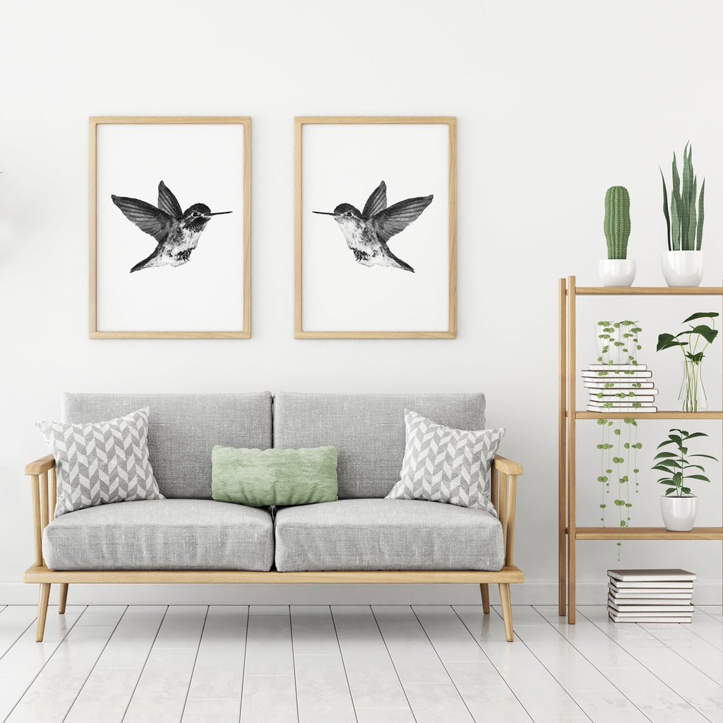 Black and White Hummingbirds 2 Piece Poster Set Set of 2 Prints - Timiko Studio