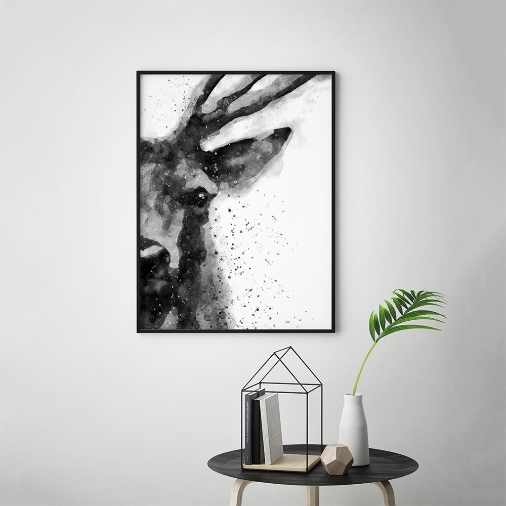 Black and White Abstract Deer Painting Poster Animal Prints - Timiko Studio