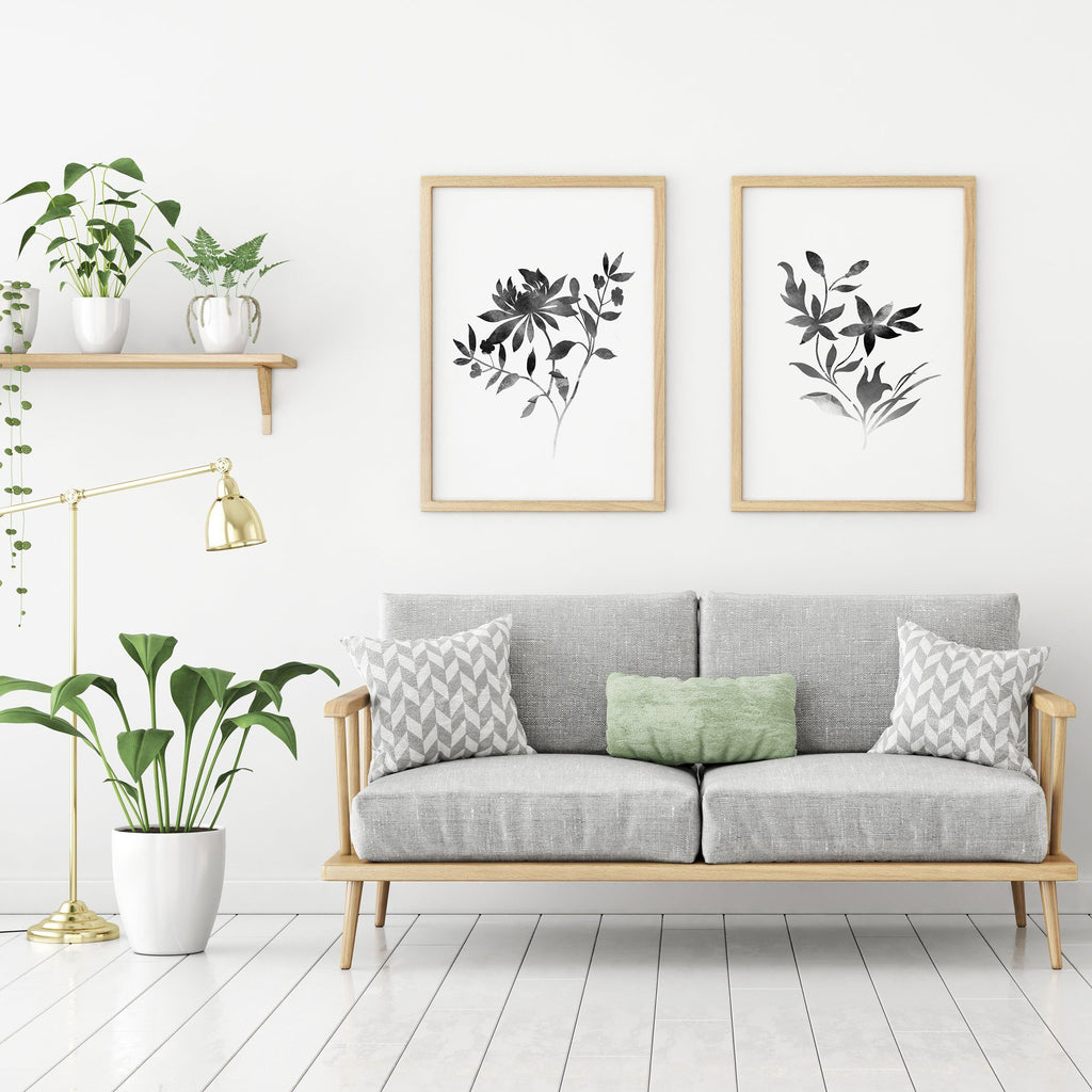 Botanical Floral Painting Set of 2 Poster Set of 2 Prints - Timiko Studio