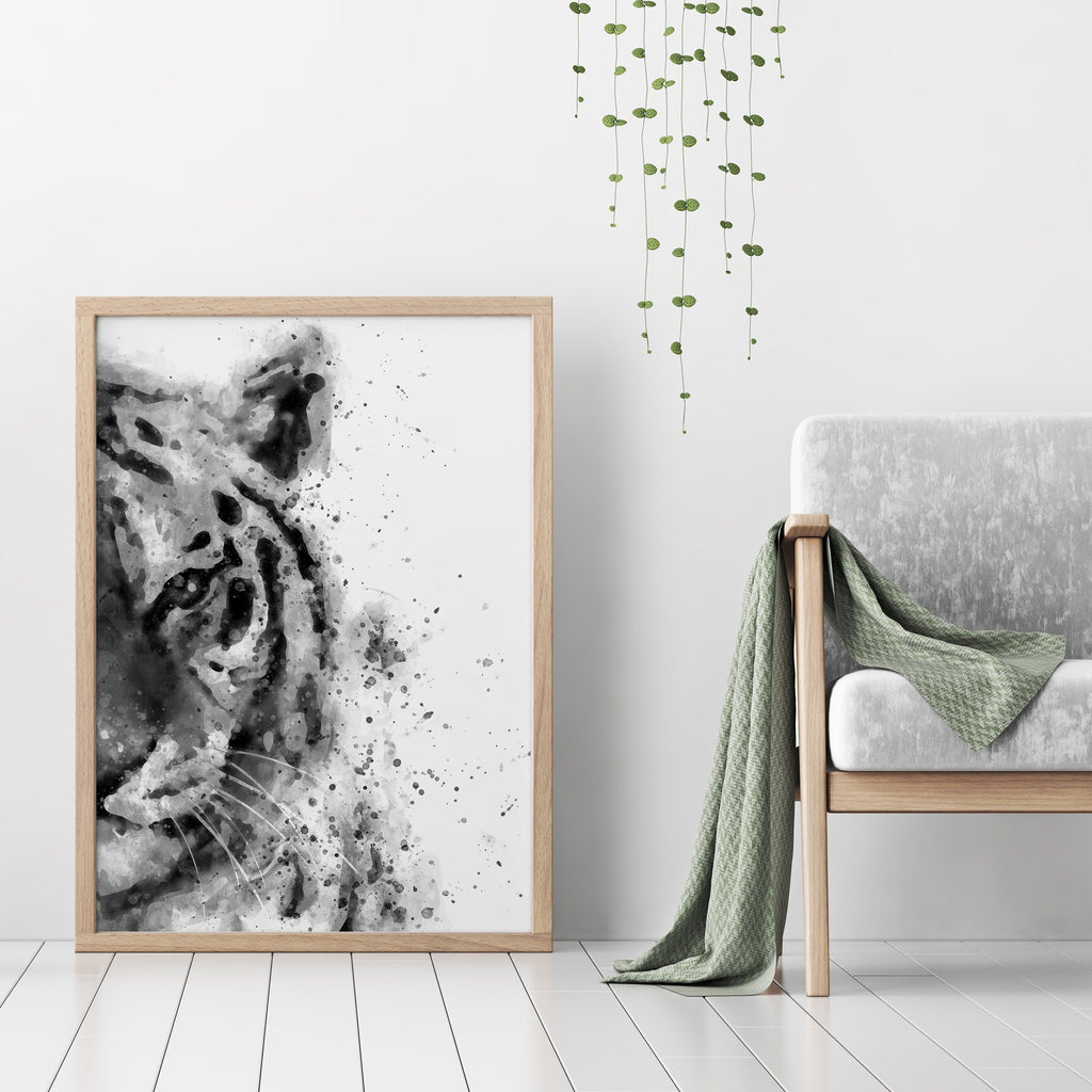 Black and White Abstract Tiger Painting Poster Animal Prints - Timiko Studio