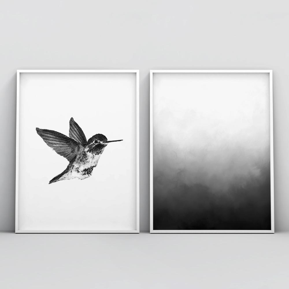 Minimalistic Black and White Painting Wall Art Poster Paintings - Timiko Studio
